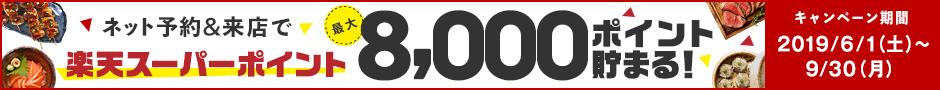 ぐるなびのネット予約&来店で楽天スーパーポイントが最大8,000ポイント貯まる!